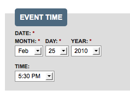 Event date and time